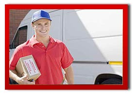 courier holding a parcel by a van