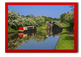 watford canal scene with canal boat