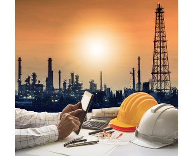 picture of oil rigs, man on his phone and hard hats for construction industry