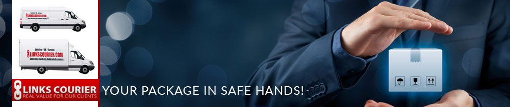 safe hands holding a package with 2 courier vans and links logo